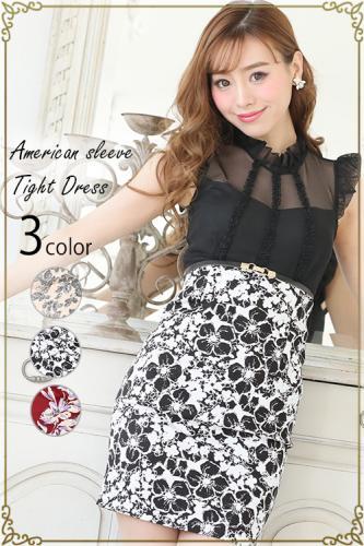 85b2ffa963525  tearly select line クラシックフラワー袖口フリルミニドレス